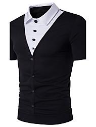 cheap -Men's Daily Beach Weekend Active Cotton Polo - Color Block Shirt Collar Black / Short Sleeve / Summer