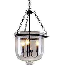 cheap -QINGMING® 3-Light 25 cm Designers Pendant Light Metal Glass Painted Finishes Retro 110-120V / 220-240V