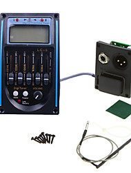 cheap -Professional Acoustic Guitar Bass Preamp 1SET LCD 5-Band Acoustic Guitar Preamp EQ LC-5 Equalizer Tuner Piezo Pickup Black with Blue
