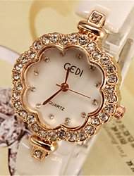 cheap -Women's Fashion Watch Quartz Imitation Diamond Analog Gold Silver / Ceramic
