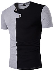 cheap -Men's Daily Sports Weekend Active Cotton Slim T-shirt - Color Block Patchwork Round Neck White / Short Sleeve / Summer