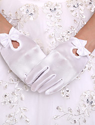 cheap -Polyester Wrist Length Glove Flower Girl Gloves With Pearls Bow