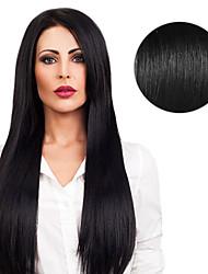 cheap -Tape In Human Hair Extensions Straight Human Hair Dark Black