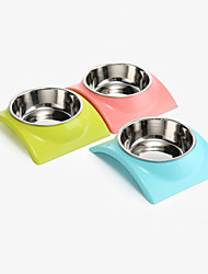 cheap -Cat Dog Bowls & Water Bottles Stainless Steel Plastic Waterproof Portable Solid Colored Green Blue Pink Bowls & Feeding