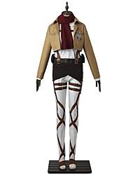 preiswerte -Inspiriert von Angriff auf Titan Mikasa Ackermann Anime Cosplay Kostüme Japanisch Cosplay-Anzüge Solide Langarm oben Hosen Schürze Für Herren Damen / Gürtel / T-shirt