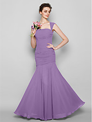 cheap -Mermaid / Trumpet Square Neck Floor Length Chiffon Bridesmaid Dress with Ruched / Open Back