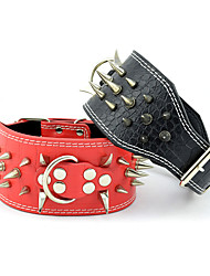 cheap -Dog Collar Adjustable / Retractable Studded Rivet Solid Colored Genuine Leather Black Red