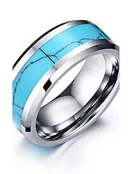 cheap -Men's Ring Blue Stainless Steel Tungsten Steel Round Circle Geometric Personalized Basic Simple Style Wedding Party Jewelry Two tone