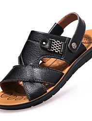 cheap -Men's Comfort Shoes Leather Spring / Summer Sandals Walking Shoes Black / Brown / Khaki / Casual / Rivet / Outdoor / EU40