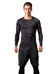 cheap -Men's Workout Shirt Winter Retro Black Running Exercise & Fitness Racing Tee / T-shirt Top Long Sleeve Sport Activewear Breathable Quick Dry Comfortable Stretchy