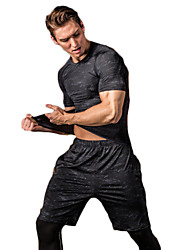 cheap -Men's Running T-Shirt Workout Shirt Retro Black Running Exercise & Fitness Racing Tee / T-shirt Top Short Sleeve Sport Activewear Breathable Quick Dry Comfortable Stretchy
