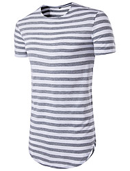 cheap -Men's Daily Sports Weekend Basic Slim T-shirt - Striped Print Round Neck Red / Short Sleeve / Summer / Long