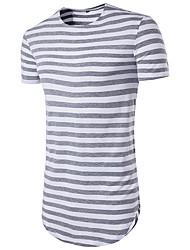 cheap -Men's Striped T-shirt Print Short Sleeve Daily Slim Tops Basic Round Neck Black Red Light gray / Sports / Summer / Long