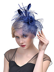 cheap -Tulle / Feather / Net Fascinators / Headwear with Floral 1pc Wedding / Special Occasion / Horse Race Headpiece