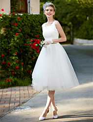 cheap -A-Line Square Neck Knee Length Lace / Tulle Regular Straps Simple / Casual / Vintage Plus Size / Cute Wedding Dresses with Lace 2020