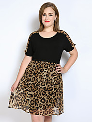 cheap -Women's Black Dress Vintage Spring Party Daily Holiday A Line Loose Chiffon Leopard Color Block Patchwork L XL