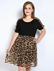 cheap -Women's Party / Daily / Holiday Vintage A Line / Loose / Chiffon Dress - Leopard / Color Block / Patchwork Spring Black XXXXL XXXXXL XXXXXXL