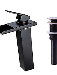 Недорогие -Смеситель - Водопад / LED Начищенная бронза По центру Одной ручкой одно отверстиеBath Taps