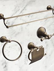 Недорогие -Набор аксессуаров для ванной Античный Латунь 4шт - Гостиничная ванна Держатели для туалетной бумаги / Robe Hook / распорка