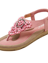 cheap -Women's Sandals Flat Heel Round Toe Rhinestone / Appliques / Flower Microfiber Comfort / Light Soles Walking Shoes Spring / Summer Black / Pink / Almond / EU41