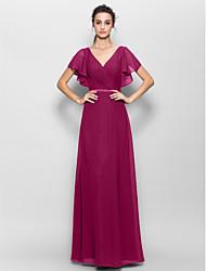 cheap -Sheath / Column V Neck Floor Length Chiffon Bridesmaid Dress with Criss Cross