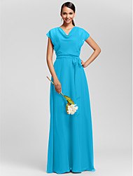 cheap -Sheath / Column Cowl Neck Floor Length Chiffon Bridesmaid Dress with Sash / Ribbon / Draping