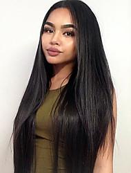Недорогие -Синтетические кружевные передние парики Прямой Прямой силуэт Лента спереди Парик Длинные Черный Искусственные волосы Жен. Природные волосы Черный