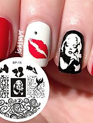 cheap -marilyn monroe pattern nail art stamp template image plate born pretty nail stamping plates bp15 nail art decoration