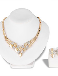cheap -Women's Jewelry Set Necklace Fashion Euramerican Rhinestone Earrings Jewelry Gold For Wedding Party Special Occasion Anniversary Birthday Gift / Daily / Engagement / Valentine