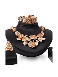 cheap -Women's Jewelry Set Flower Ladies Personalized Luxury Fashion Euramerican Rhinestone Gold Plated Earrings Jewelry Gold For Wedding Party Special Occasion Congratulations / Rings / Bracelets & Bangles
