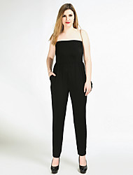 cheap -Cute Ann Women's Off Shoulder Plus Size Party / Daily / Holiday Vintage Strapless Black Navy Blue Jumpsuit Onesie, Polka Dot / Solid Colored Pure Color / Knitting XXXL XXXXL XXXXXL High Rise / Spring