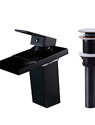 cheap -Faucet Set - Waterfall / LED Oil-rubbed Bronze Centerset Single Handle One Hole