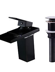 Недорогие -Смеситель - Водопад / LED Начищенная бронза По центру Одной ручкой одно отверстие