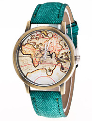 cheap -Men's Women's Fashion Watch World Map Quartz Leather Black / White / Blue Casual Watch Analog Vintage World Map - Green Blue Pink