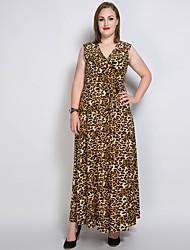 cheap -Women's Plus Size Party Maxi Swing Dress - Solid Colored / Leopard V Neck Cotton Black Pink Army Green XXXXL XXXXXL XXXXXXL