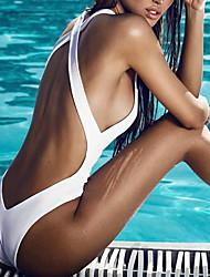 abordables -Femme A Bretelles Blanc Noir Slip Brésilien Une-pièce Maillots de Bain - Couleur Pleine M L XL Blanc / Sexy
