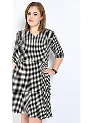 cheap -Women's Plus Size Party / Daily Vintage A Line / Shift / Sheath Dress - Houndstooth V Neck Cotton Black XXXXL XXXXXL XXXXXXL