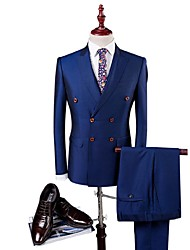 cheap -Blue Solid Colored Slim Fit Polyester / Viscose Suit - Peak Single Breasted Four-buttons / Suits