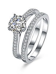 cheap -Ring Diamond Simulated Silver Sterling Silver Zircon Platinum Plated Ladies Basic 8 / Women's