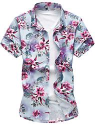 cheap -Men's Daily Beach Active Cotton Shirt - Floral Flower Blue / Short Sleeve / Summer