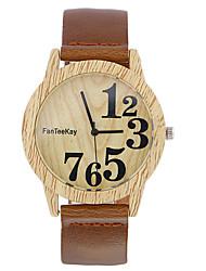 cheap -Men's Wrist Watch Quartz Leather Black / Brown / Khaki Cool Wooden Analog Ladies Casual Wood - Black Coffee Brown