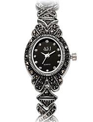 cheap -ASJ Women's Fashion Watch Bracelet Watch Japanese Quartz Japanese Quartz Titanium 30 m Water Resistant / Waterproof Shock Resistant Imitation Diamond Analog Ladies Charm Flower Vintage Casual - Black