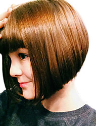 cheap -Synthetic Wig Wavy Wavy Bob With Bangs Wig Brown Synthetic Hair Women's Brown