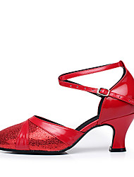 cheap -Women's Modern Shoes / Ballroom Shoes Paillette / Leatherette Buckle Heel Splicing Customized Heel Customizable Dance Shoes Gold / Silver / Red