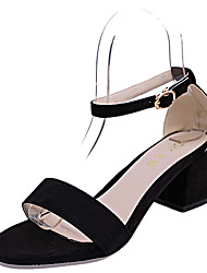 cheap -Women's Sandals Block Heel Sandals Chunky Heel Open Toe Rhinestone / Buckle PU(Polyurethane) Club Shoes Spring / Summer Black / Pink / Party & Evening / Party & Evening / EU39