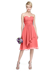 cheap -A-Line Sweetheart Neckline Knee Length Chiffon Bridesmaid Dress with Draping / Criss Cross / Ruched / Open Back
