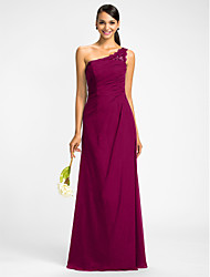 cheap -Sheath / Column One Shoulder Floor Length Chiffon Bridesmaid Dress with Beading / Lace Insert