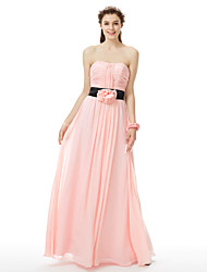 cheap -Princess / A-Line Strapless Floor Length Chiffon Bridesmaid Dress with Sash / Ribbon / Ruched / Flower