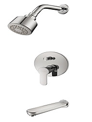 cheap -Contemporary  with  Chrome Single Handle Three Holes  for Wall Mount
