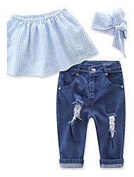 cheap -Toddler Girls' Dresswear Daily Holiday Beach Solid Colored Sleeveless Short Regular Cotton Clothing Set Blue